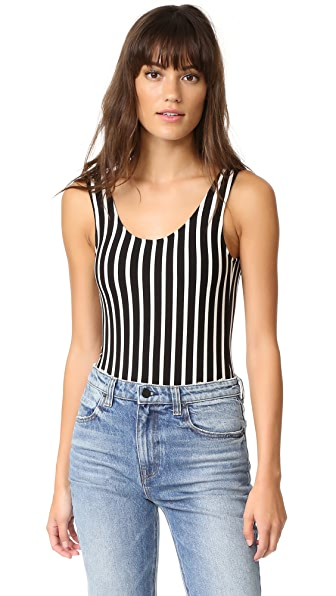 LAVEER Striped Scoop Tank Bodysuit