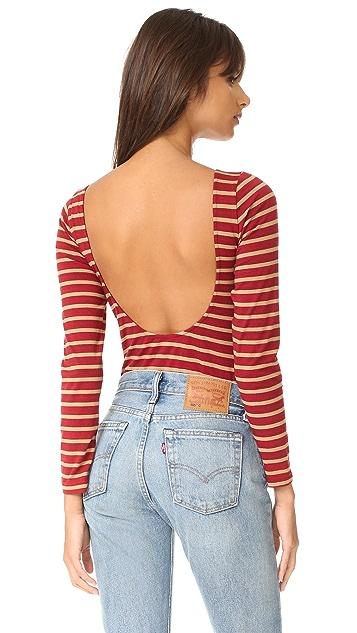 LAVEER Striped Long Sleeve Scoop Bodysuit