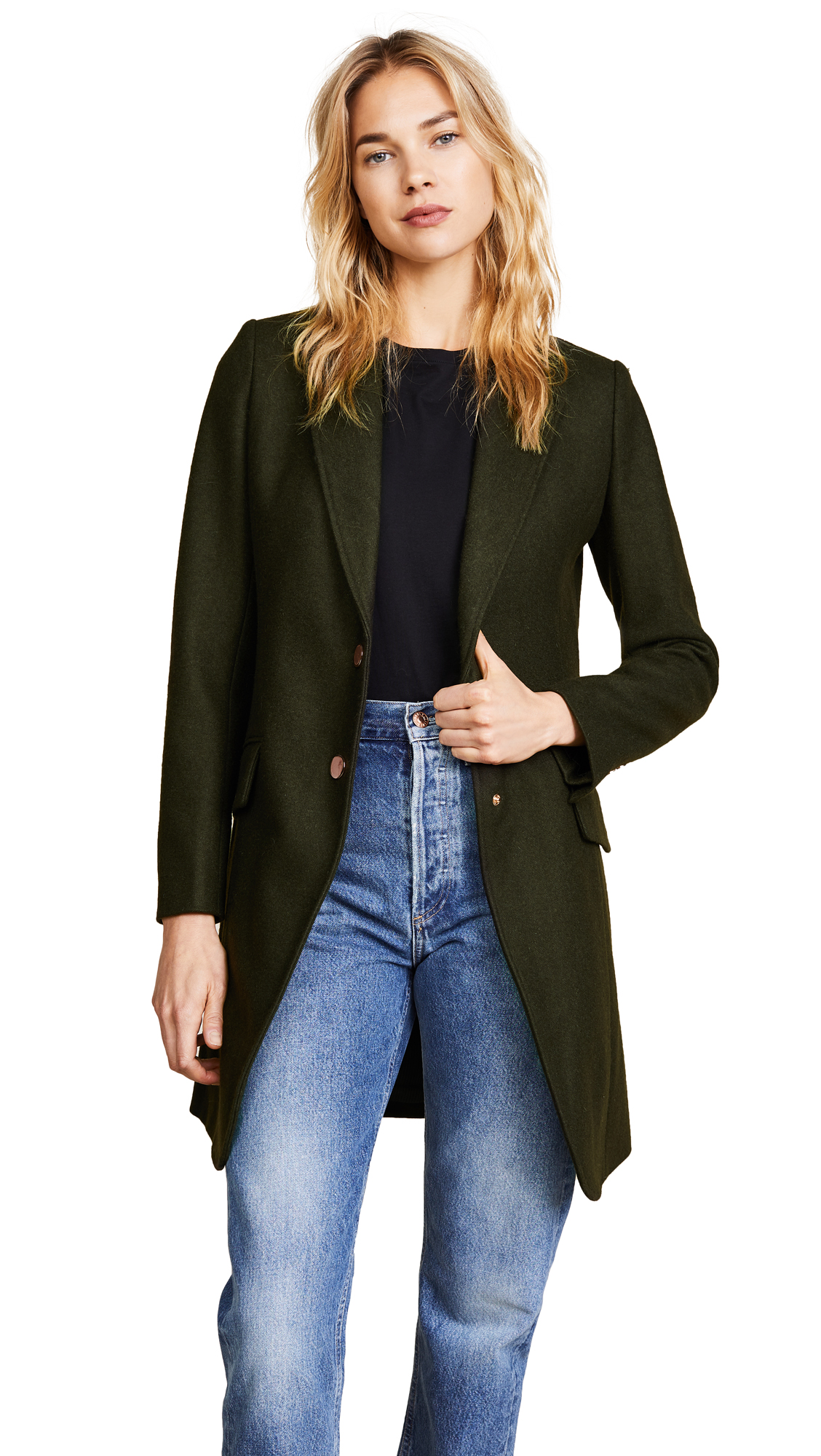 LAVEER Long Sharp Jacket - Hunter Green