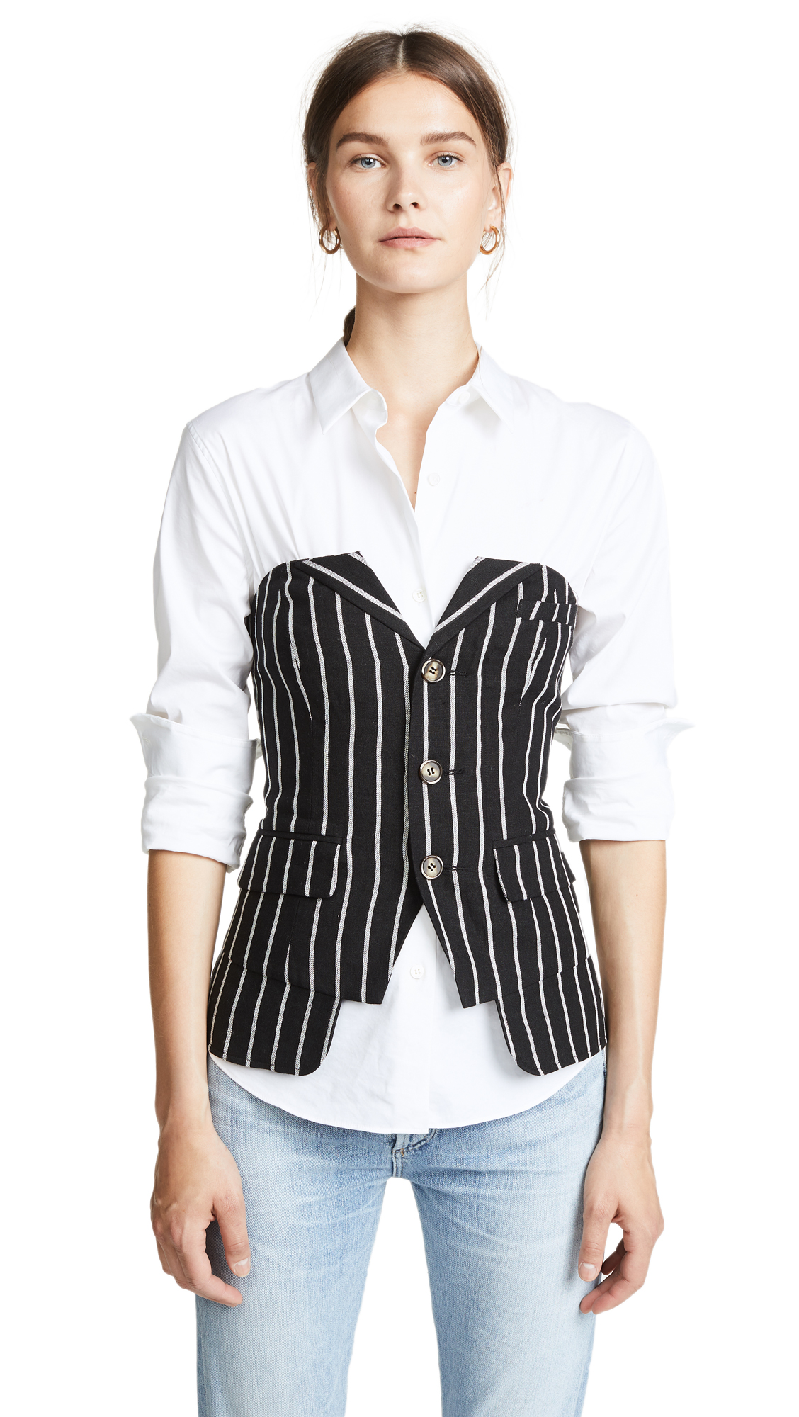 LAVEER BUTTON UP BUSTIER TOP