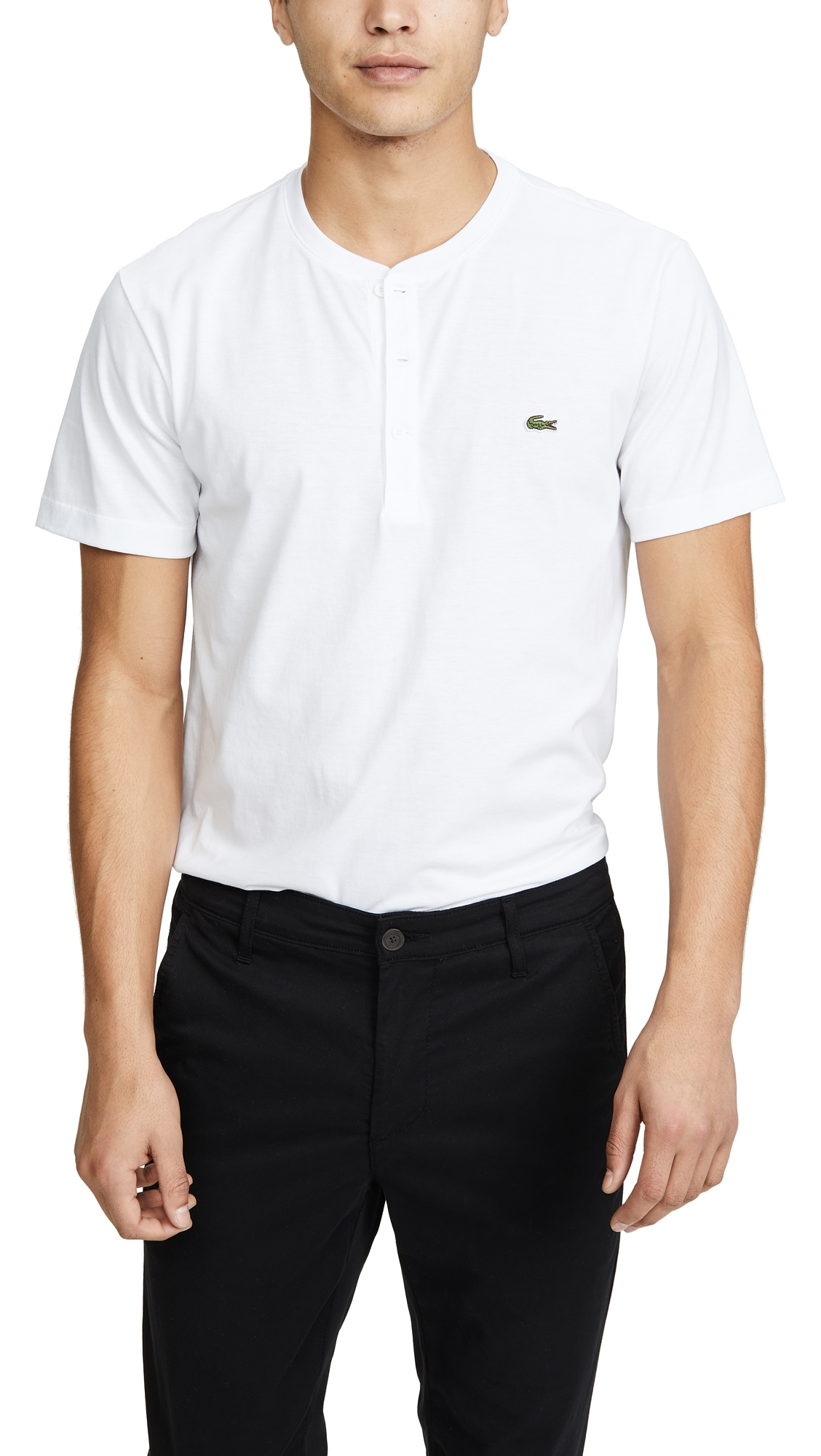 Lacoste Regular Fit Henley T-shirt In Blanc