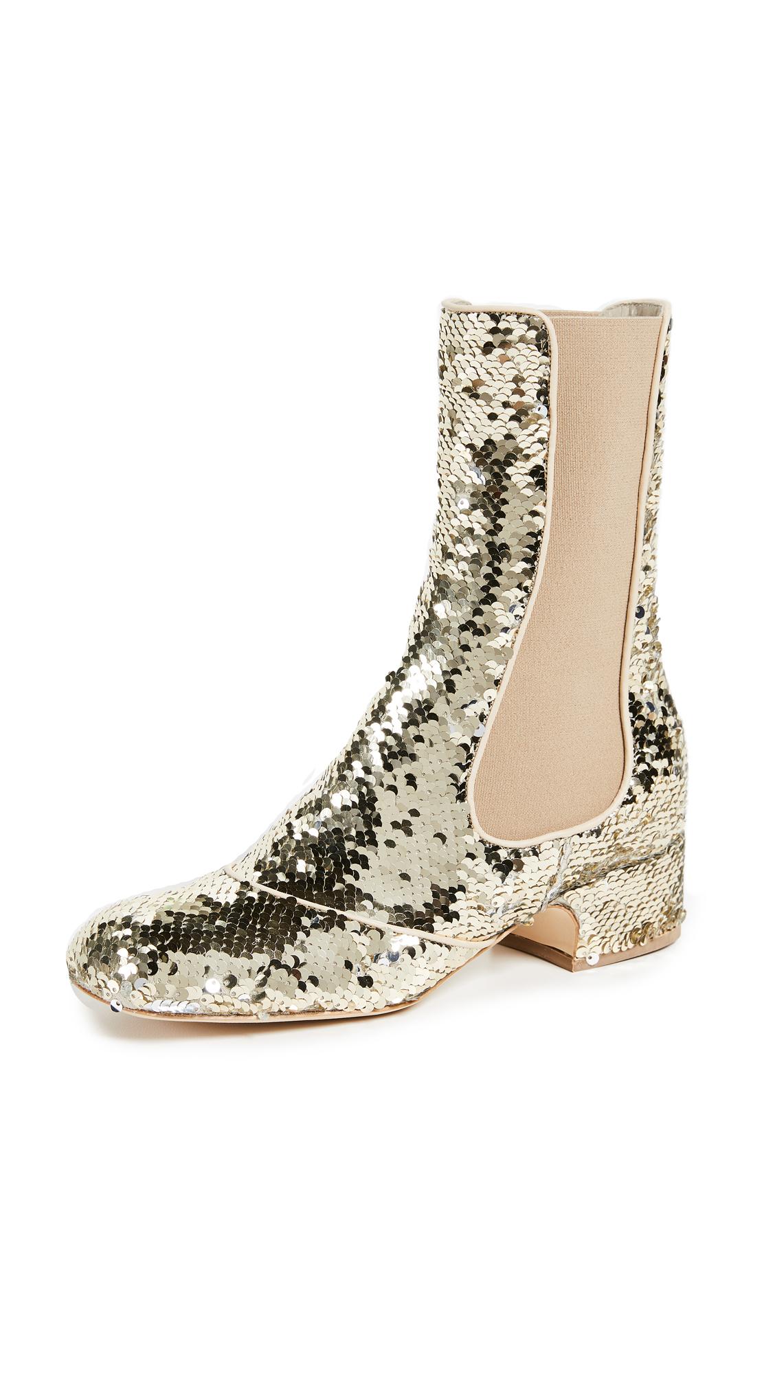 Laurence Dacade Pelen Sequins Booties - Gold/Silver