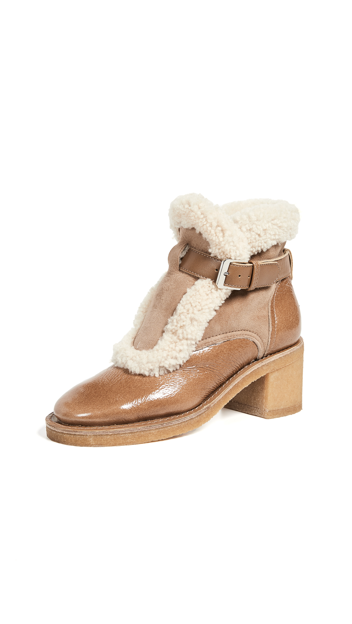 LAURENCE DACADE Snow Shearling-Trimmed Glossed-Leather And Suede Ankle Boots in Beige