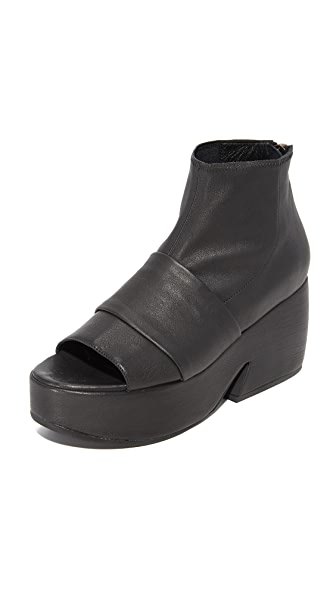LD Tuttle The Tilt Open Toe Platform Booties - Black
