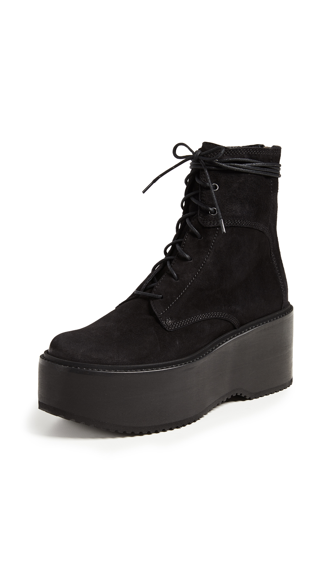 LD Tuttle The Plunge Platform Combat Boots - Washed Black
