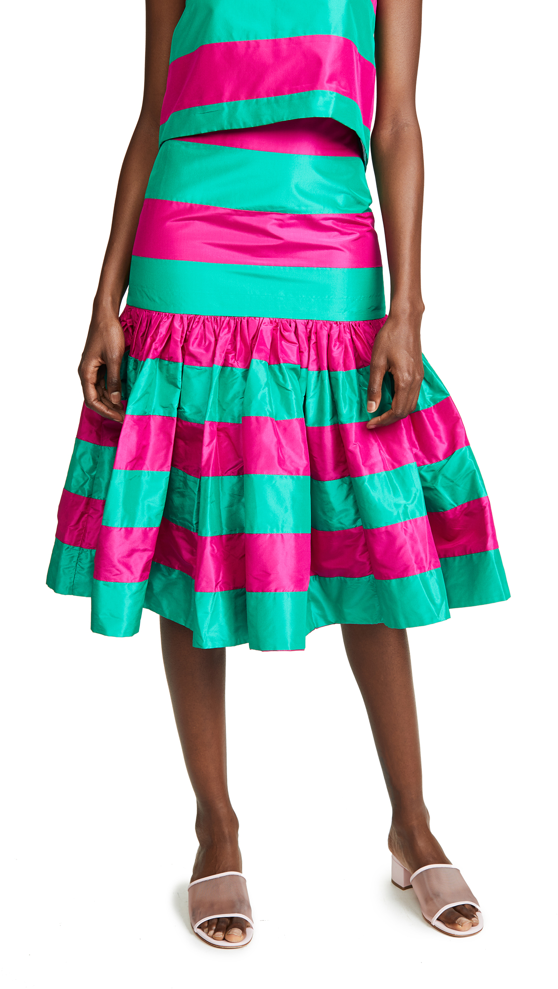 Leal Daccarett Torombolo Skirt In Red/Green Stripes