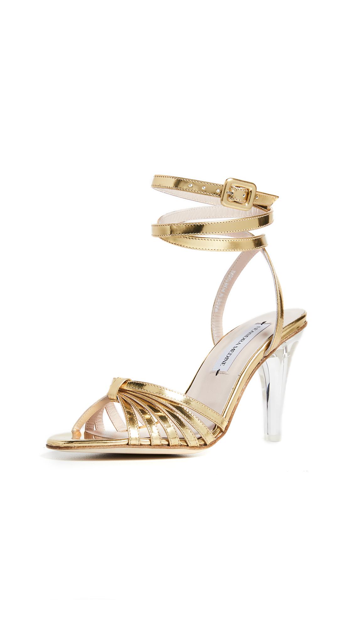 Leandra Medine Caged Heeled Sandals - Gold