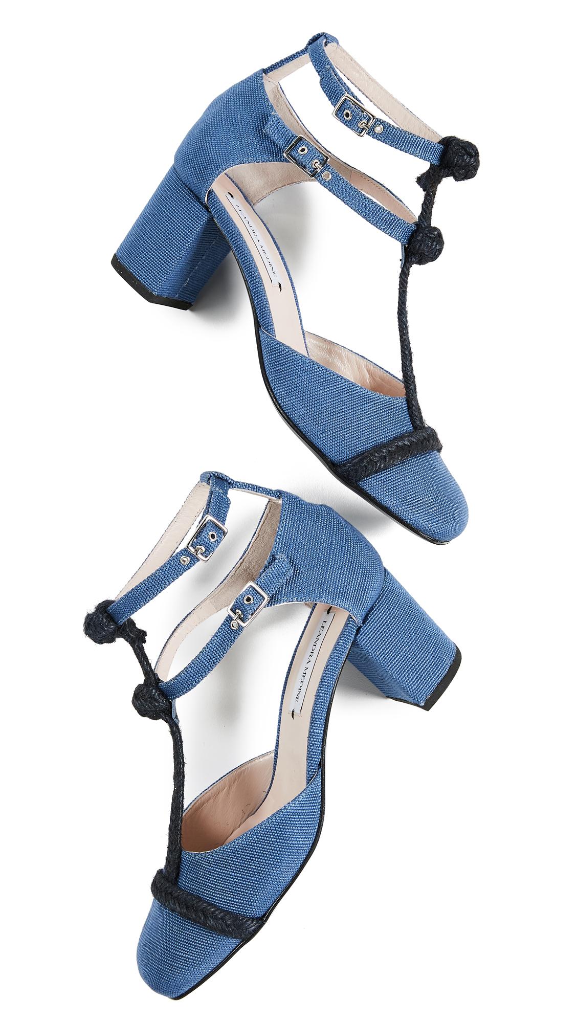 Leandra Medine T-Strap Rope Mid Heels - Blue