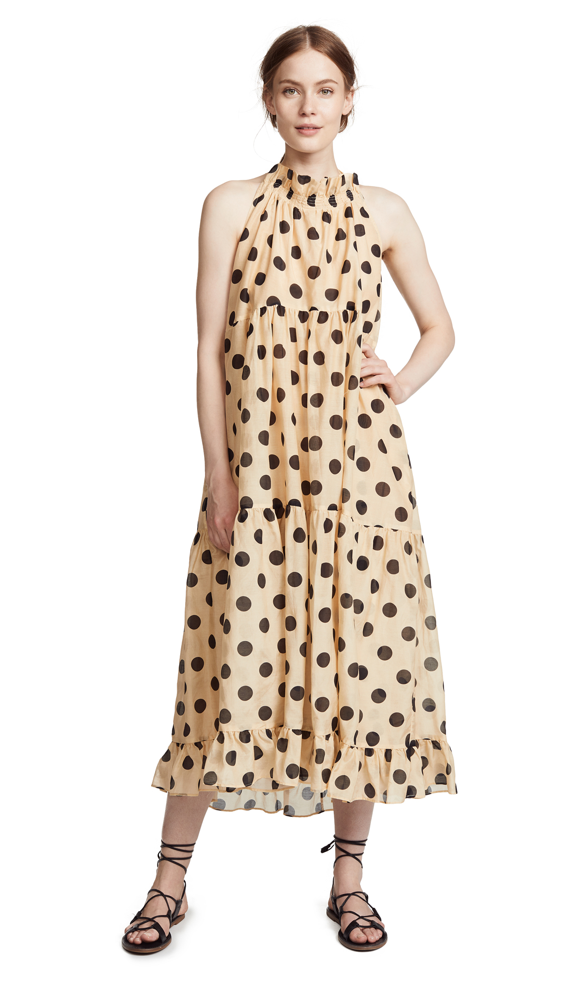 LEE MATHEWS MINNIE SPOT HALTER DRESS