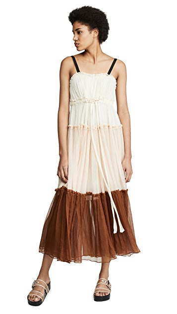 Lee Mathews Celia Tiered Crinkle Silk Maxi Dress
