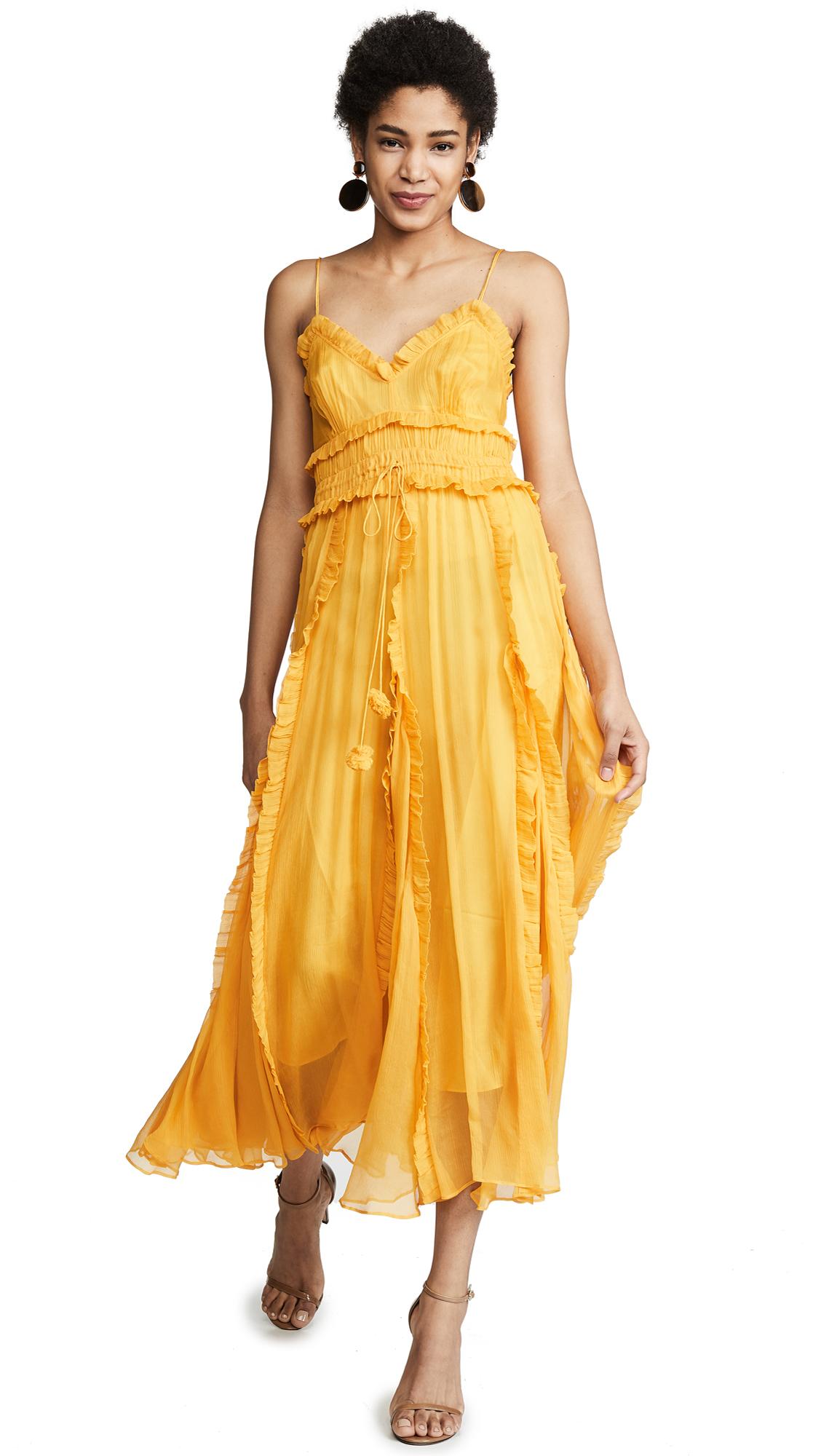 Lee Mathews Lilla Crinkle Silk Cami Dress - Buttercup