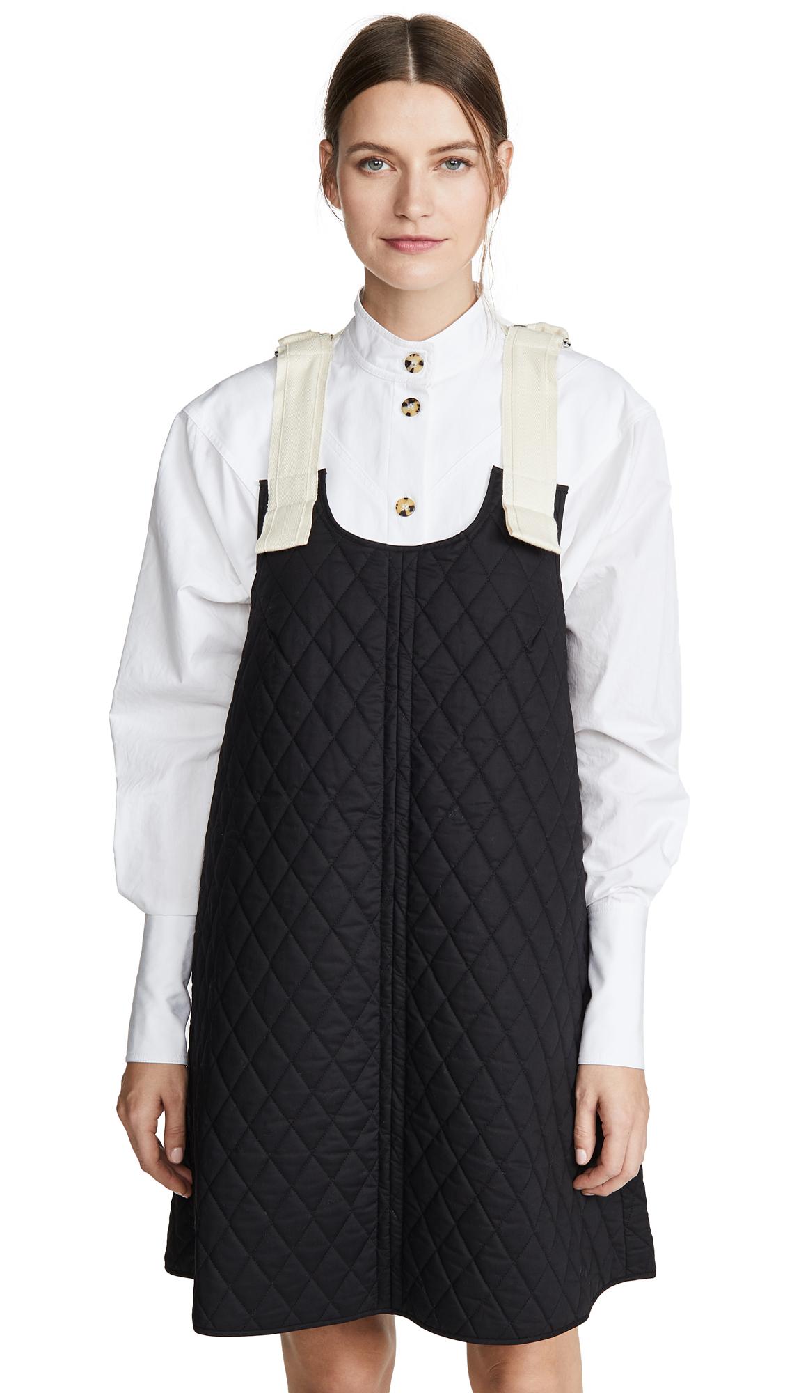 Lee Mathews Dresses OLIVE QUILTED APRON DRESS