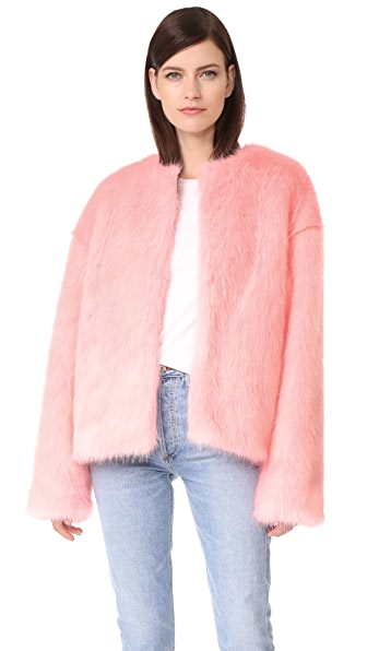 LEHA Hann Faux Fur Jacket In Pink