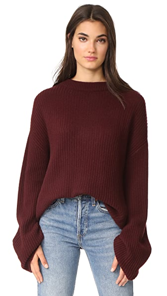 Le Kasha Ribbed Cashmere Sweater In Bordeaux