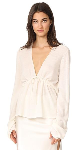 Le Kasha V Neck Tie Sweater - White