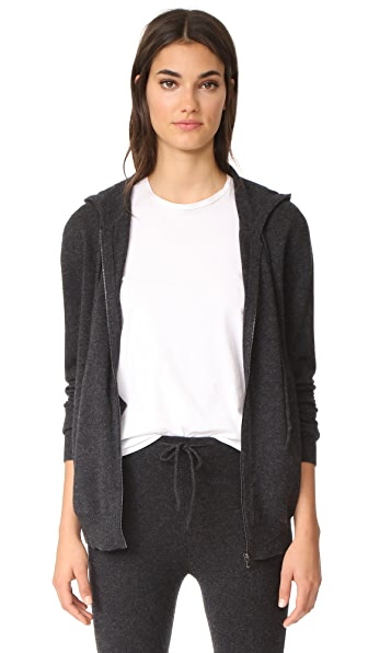 Le Kasha Cashmere Zip Up Hoodie In Charcoal