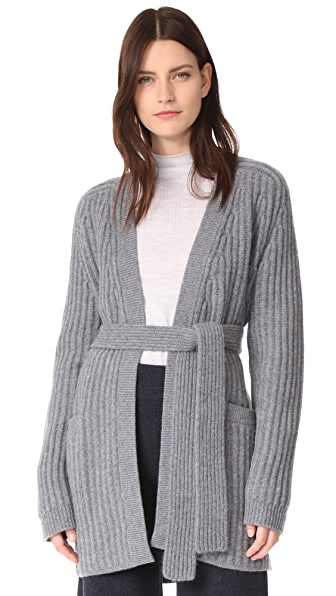 Le Kasha Ribbed Tie Waist Cashmere Cardigan In Mid Grey