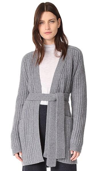 Le Kasha Ribbed Tie Waist Cashmere Cardigan - Mid Grey