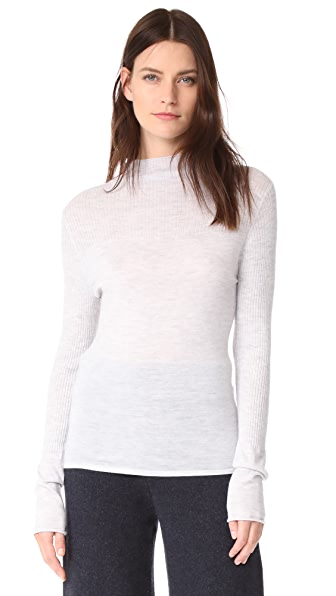 Le Kasha Cashmere Mock Neck Sweater In Light Grey