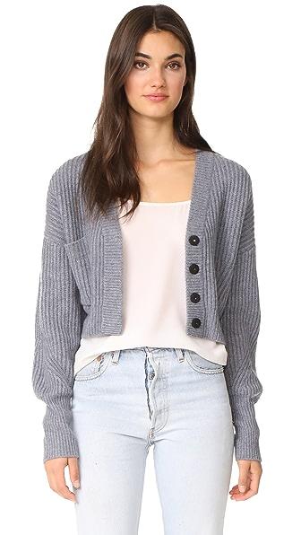 Le Kasha Cropped Cashmere Cardigan In Blue/Grey