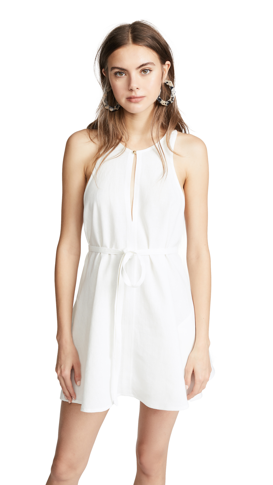 Le Kasha Rosetta Tie Waist Dress In Cream