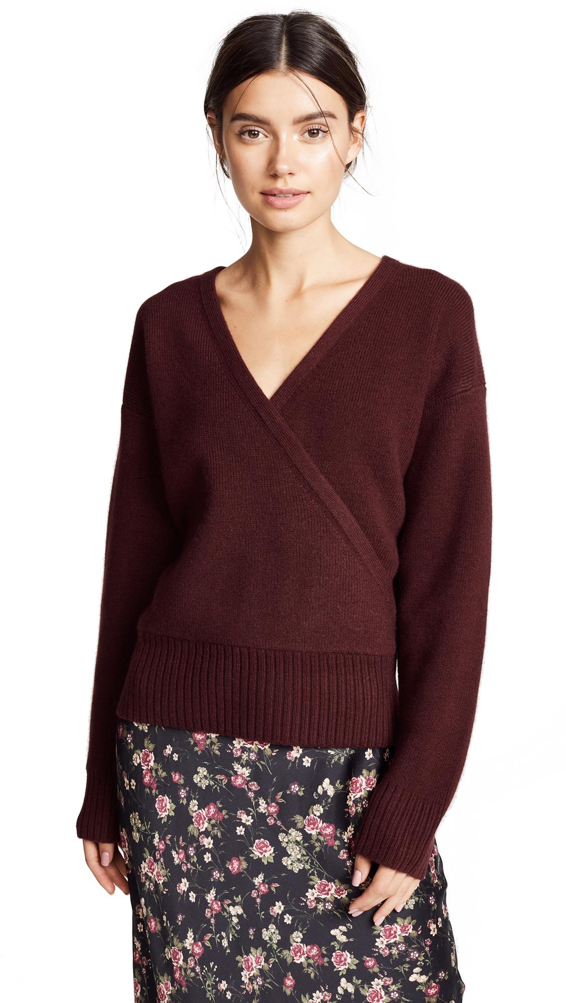 Le Kasha London Cashmere V Wrap Sweater In Bordeaux