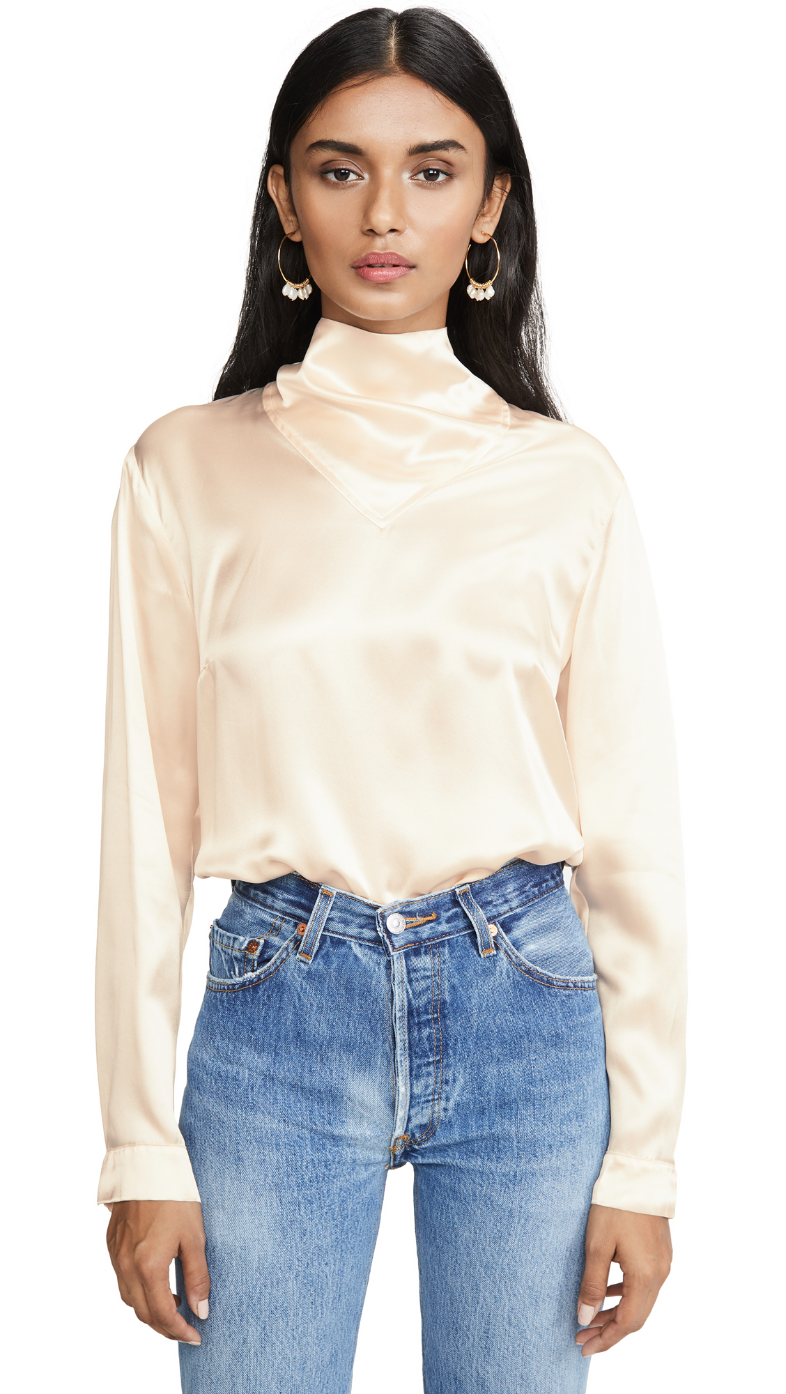 Le Kasha Long Sleeve Blouse Neck Detail – 50% Off Sale