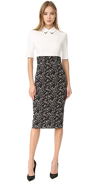 Lela Rose Fitted Sheath Dress - Black/Ivory