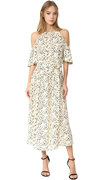 Lela Rose Flutter Sleeve Dress - Ivory/Black