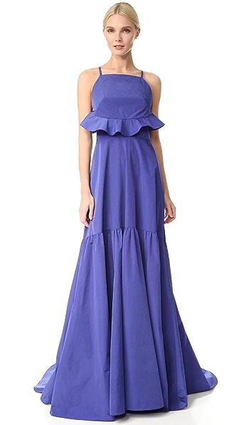 Lela Rose Flounce Back Gown - Lapis