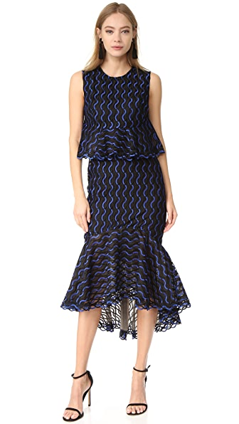 Lela Rose Ruffle Skirt Dress