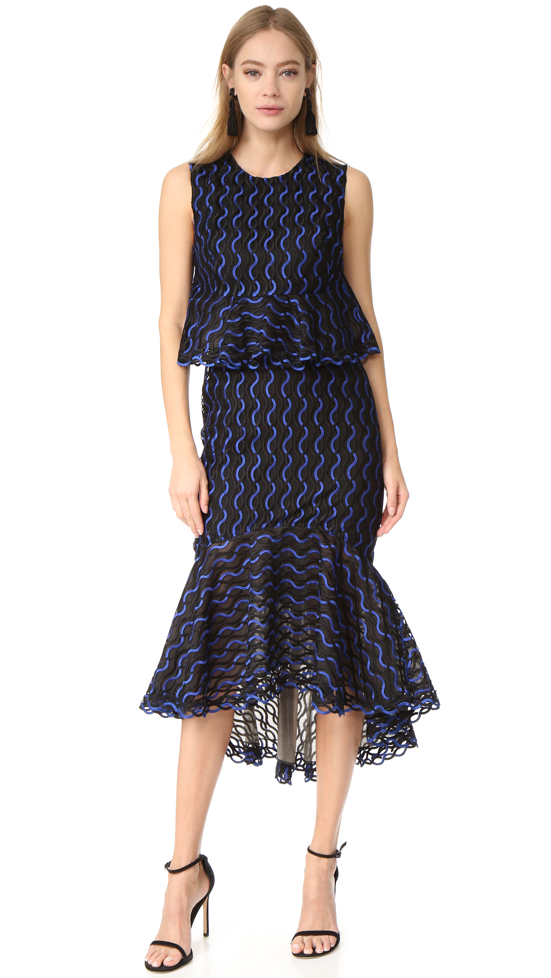 Lela Rose Ruffle Skirt Dress - Lapis/Black