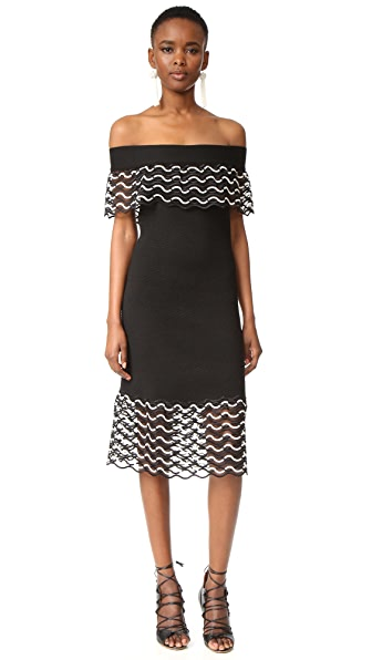 Lela Rose Off the Shoulder Dress - Ivory/Black