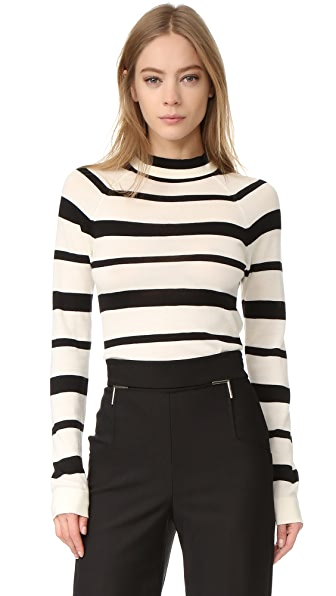 Lela Rose Long Sleeve Sweater - Black/Ivory