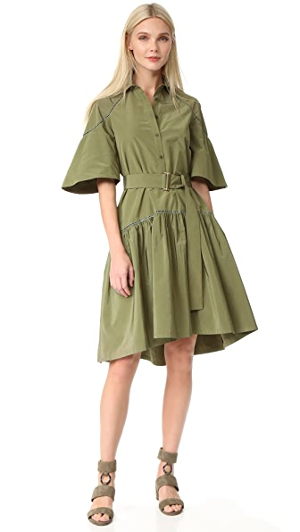 Lela Rose Shirtdress - Moss