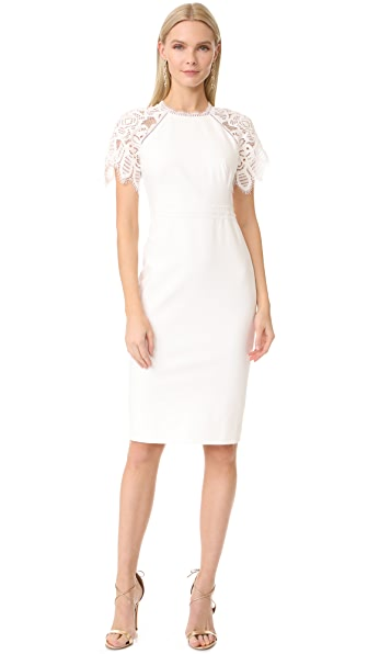 Lela Rose Lace Sleeve Fitted Sheath Dress - White