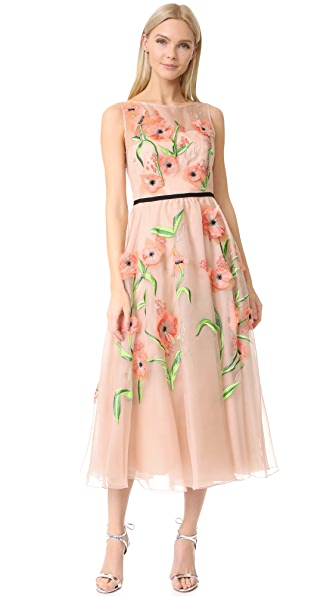 Lela Rose Floral Embroidered Dress - Blush Multi