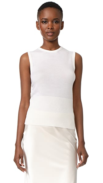 Lela Rose Sleeveless Knit Top - White