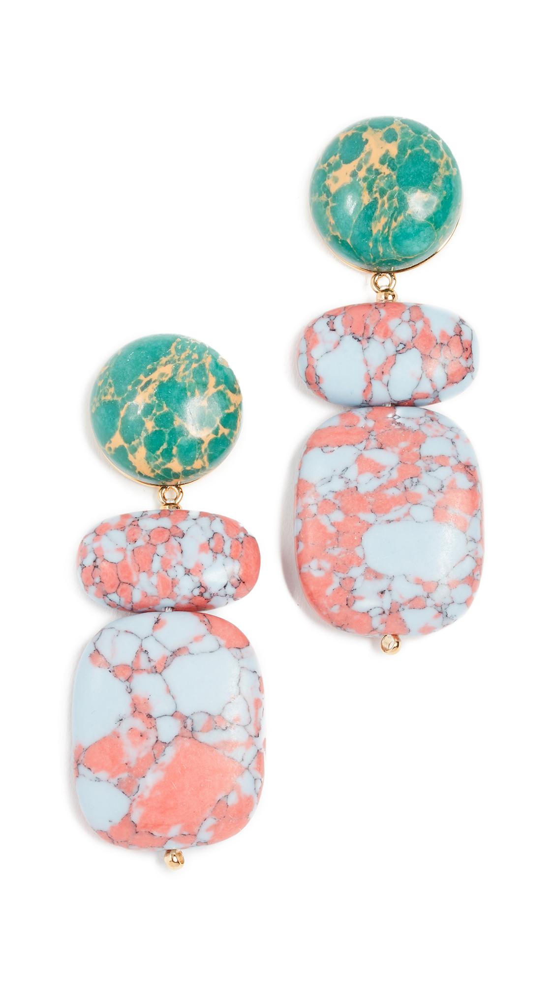 Boulder Drop Marble Earrings, Sunset Blue