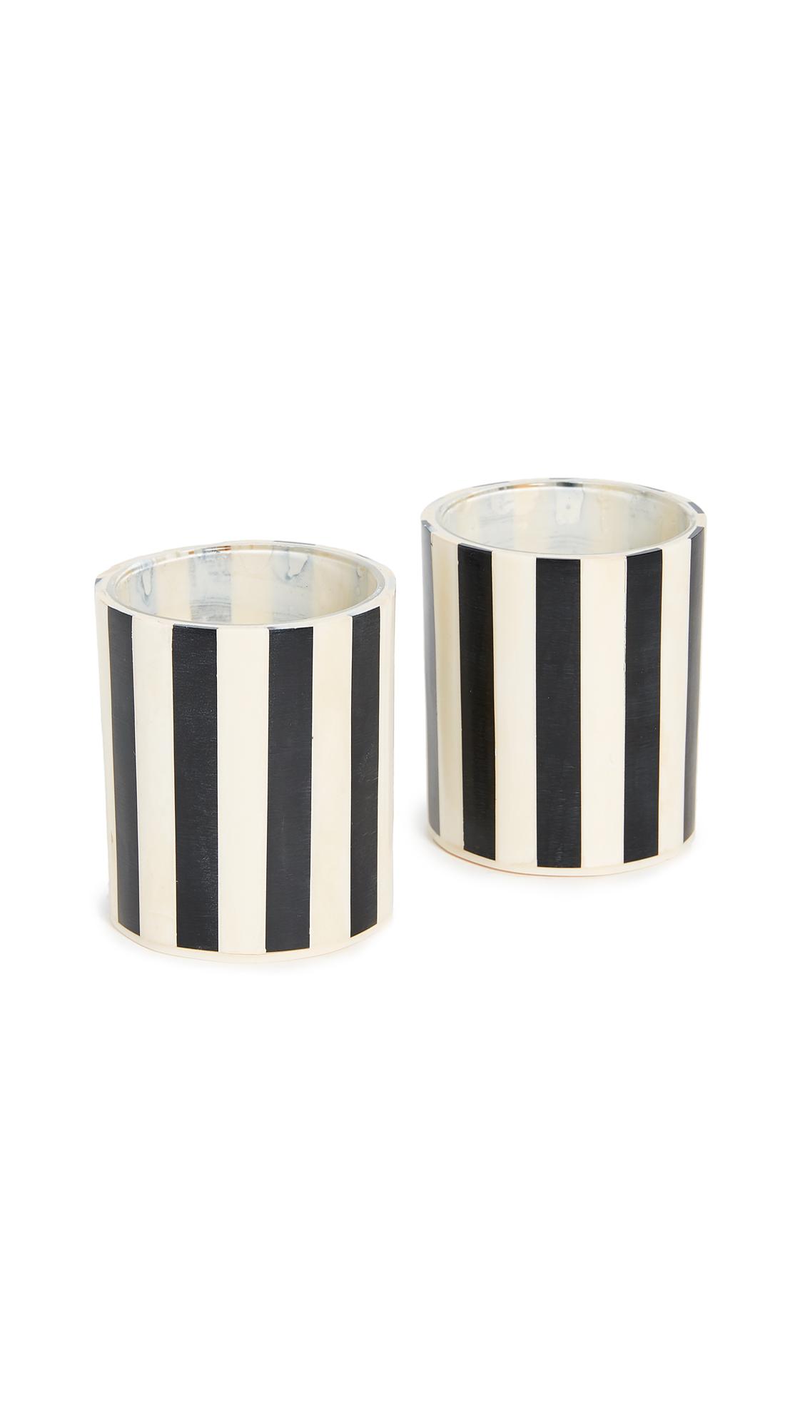 Lele Sadoughi Striped Votive Candle Holder Set - Black/White