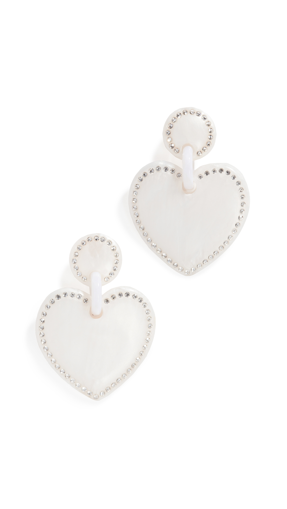 Lele Sadoughi JEWELED STITCHED HEART EARRINGS