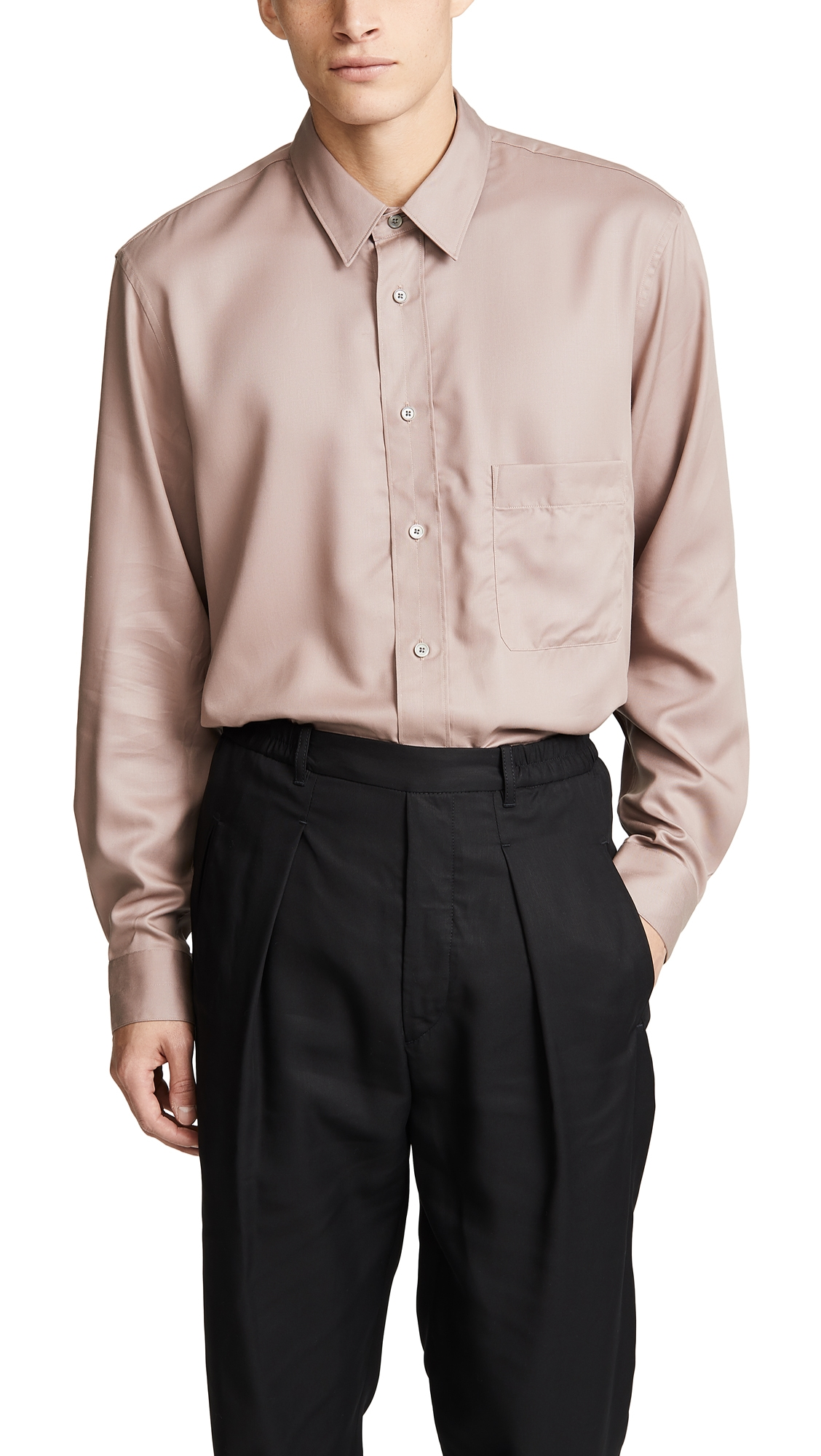 LEMAIRE Straight Collar Shirt in Neutrals
