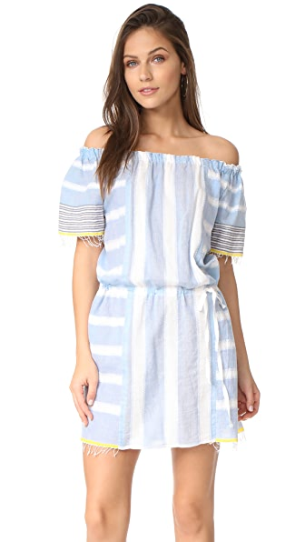 Lemlem Luna Off Shoulder Dress In Bluebell