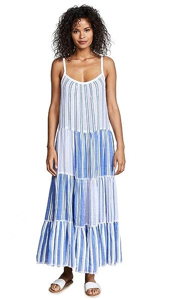 Lemlem Alfie Maxi Slip Dress In Blue