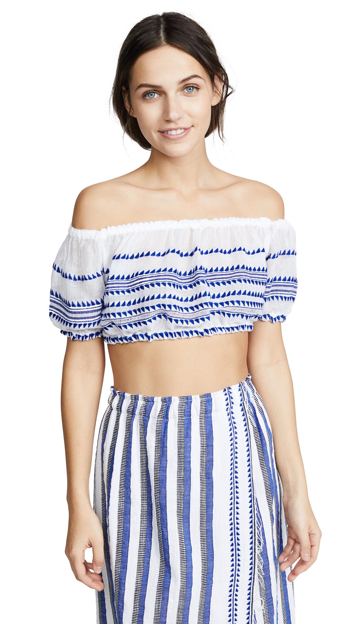 LEMLEM Lulu Stripe Off-The-Shoulder Top in Blue