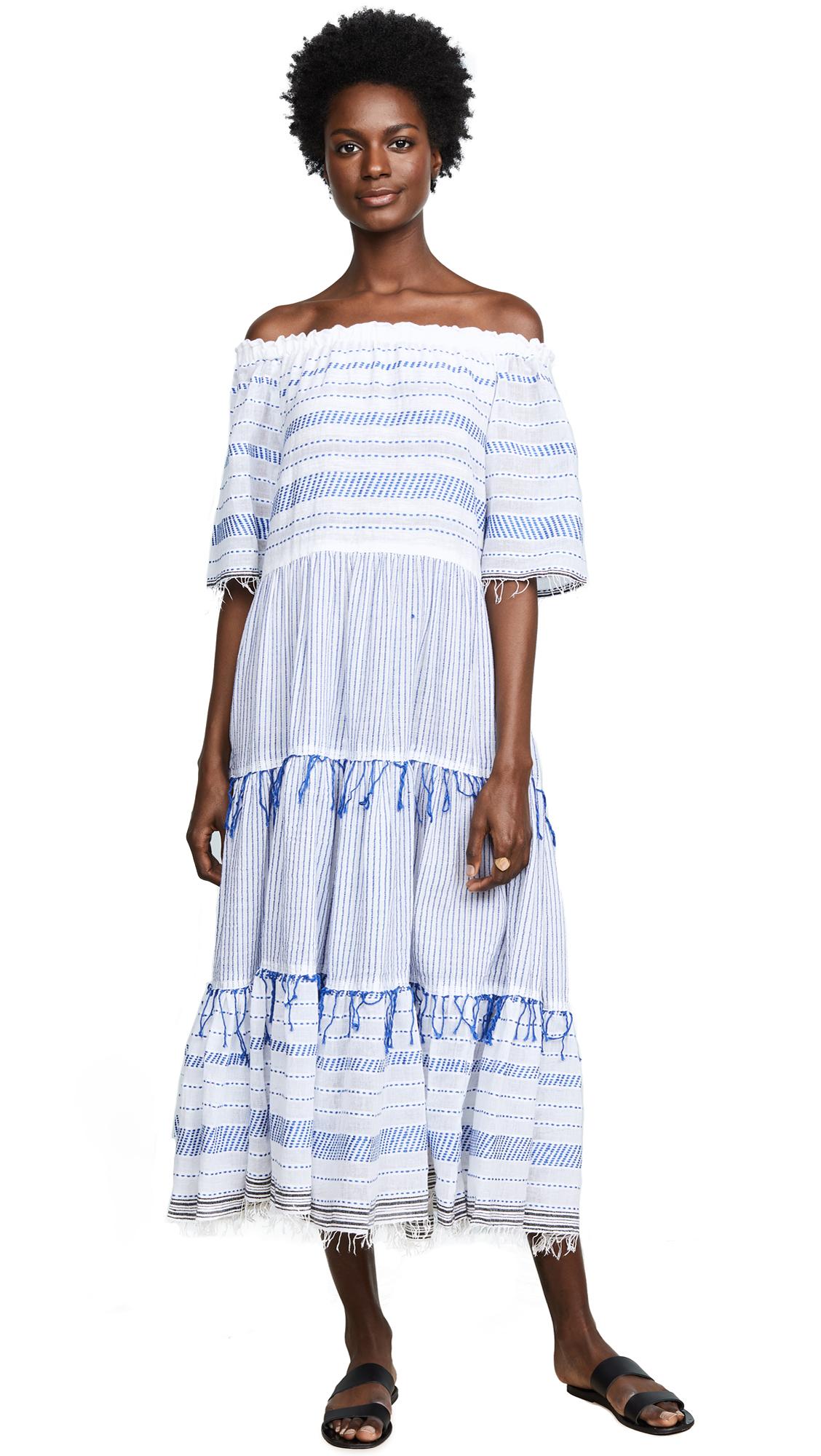 LEMLEM Tiki Striped Cotton Maxi Dress - Lt. Blue Str Size M