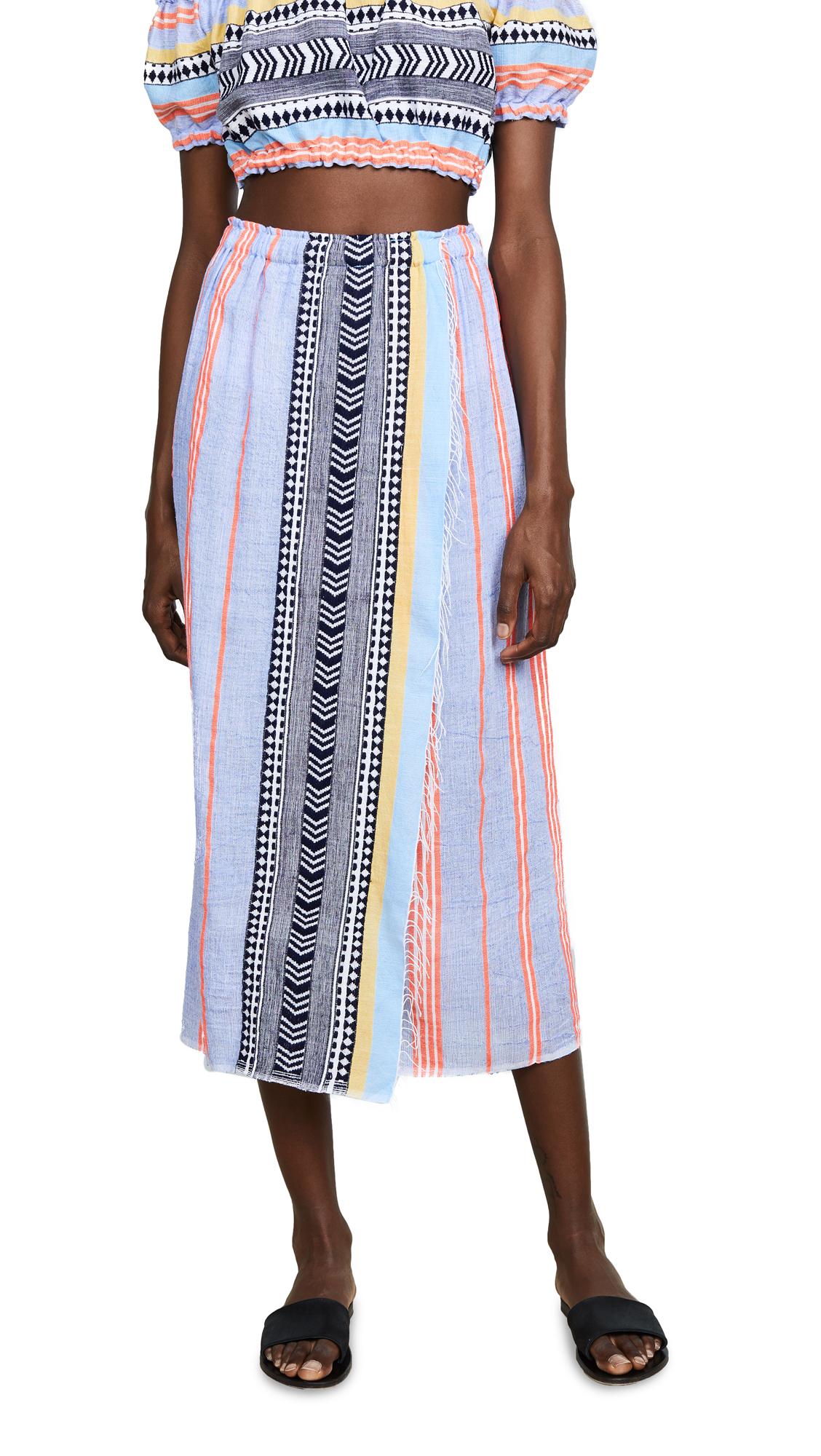 LEMLEM Sophia Folkloric & Striped Cotton-Blend Wrap Skirt Size S in Blue