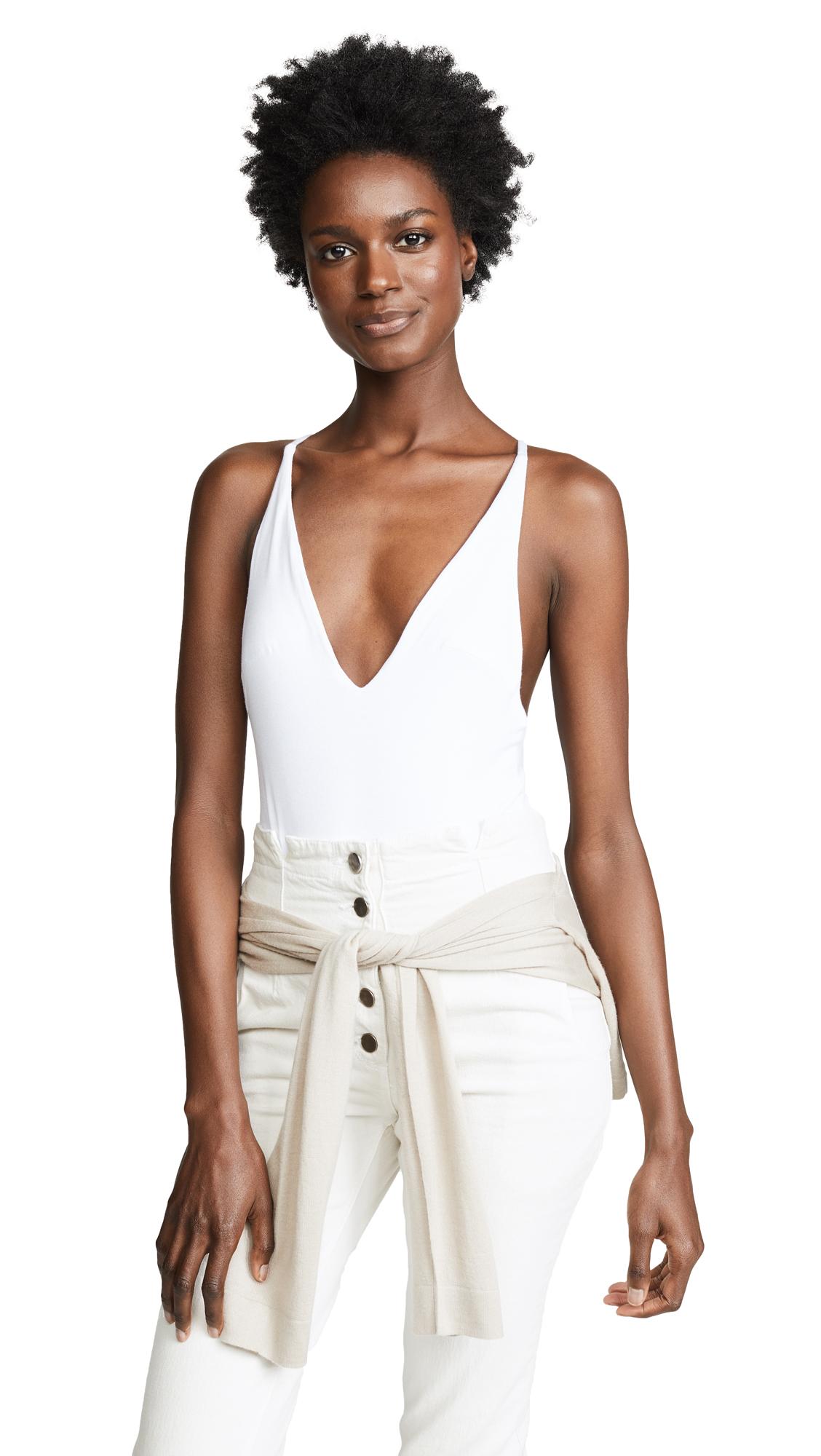 Les Coquines Deep V Bodysuit In Blanc