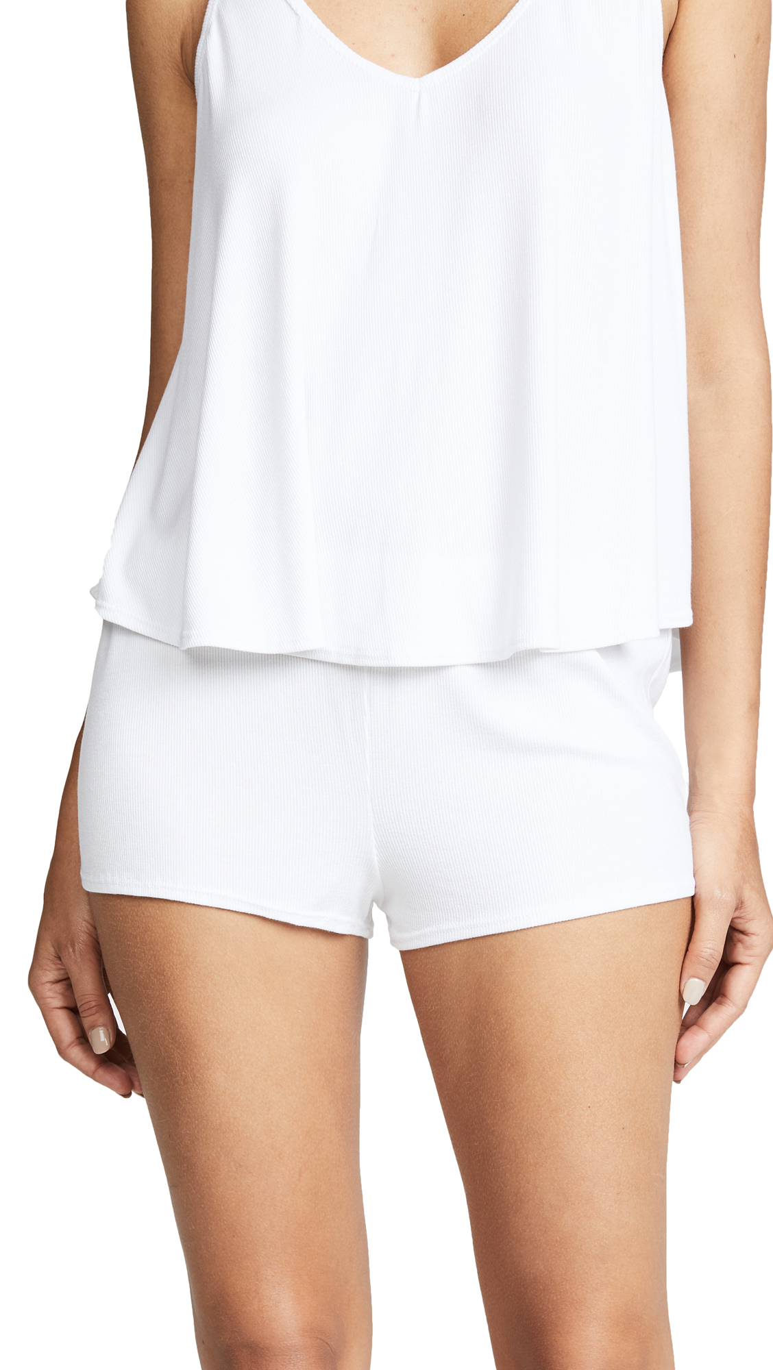 Les Coquines Riley Lounge Shorts In Blanc