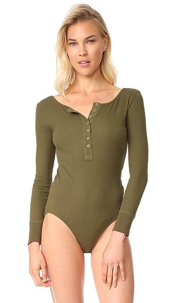 Les Girls, Les Boys Long Sleeve Bodysuit - Khaki